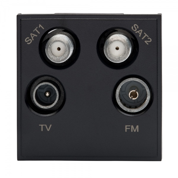 Rt Quadplexed Outlet Module 50mm X 50mm Black